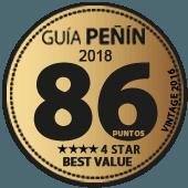 86 puntos y 4 estrellas a la mejor relación Calidad - Precio en Guía Penín 2018 (añada 2016)