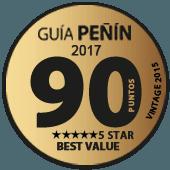 90 puntos y 5 estrellas a la mejor relación Calidad - Precio en Guía Penín 2017 (añada 2015)
