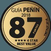 87 puntos y 4 estrellas a la Mejor Calidad/Precio en Guía Peñín 2018 (añada 2016)