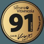 91 puntos en la guía La Semana Vitivinícola 2017 (añada 2016)