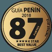 87 puntos y 4 estrellas a la mejor relación Calidad - Precio en Guía Penín 2018 (añada 2015)