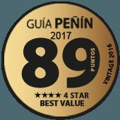 89 puntos y 4 estrellas a la mejor relación Calidad - Precio en Guía Penín 2017 (añada 2016)