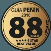 88 puntos y 4 estrellas a la mejor relación Calidad - Precio en Guía Penín 2018 (añada 2009)