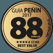 88 puntos y 4 estrellas a la mejor relación Calidad - Precio en Guía Penín 2017 (añada 2014)