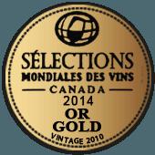 Medalla de Oro en Selections Mondiales des Vins 2014 (Canadá) (añada 2010