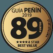 89 puntos y 4 estrellas a la mejor relación Calidad - Precio en Guía Penín 2019 (añada 2015)